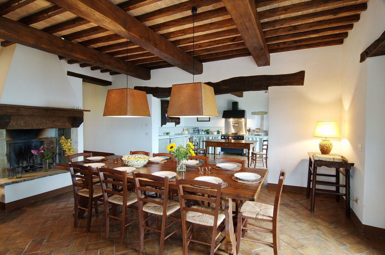 The Large Open Dining Room Has A Table For 12 Persons And An Fireplace Opens Out To Ground Floor Terraces With Valley View